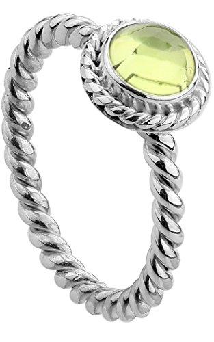 Nenalina Damen Ring Silberring besetzt mit 6 mm hellgrünem Peridot Edelstein, handgearbeitet aus 925 Sterling Silber, Gr. 52-212999-013-52