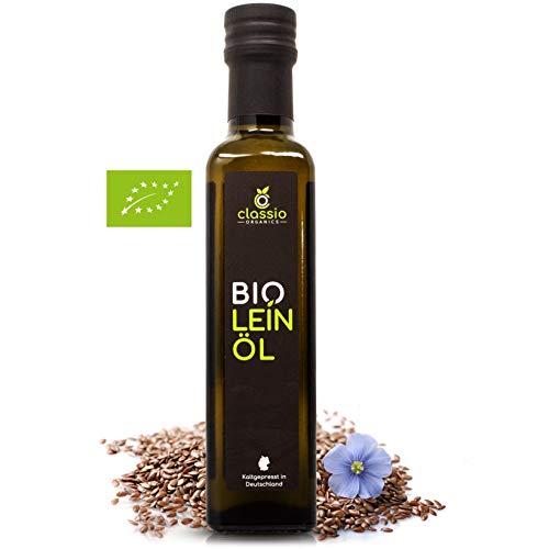 CLASSIO BIO Leinöl | 100% rein & kaltgepresst I Geschmacksneutrales Leinöl aus nachhaltigem Anbau | 1 x 250 ml Glasflaschen | Hoher Gehalt an gesunden Omega-3-Fettsäuren