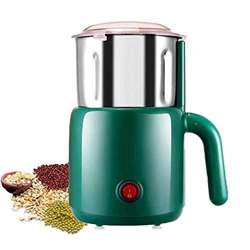 Mcbbigxw Kaffeemühle MAX 800W Elektrische Propellermühlen, Elektrische Gewürzmühle Mit Edelstahlklingen, Für Kaffeebohnen Nüsse Gewürze Getreide(Grün)