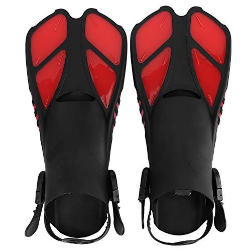 Aletas de natación Aletas de natación Tamaño de Viaje Corto Ajustable para esnórquel Buceo Hombres Adultos Mujeres Niños(Rojo)
