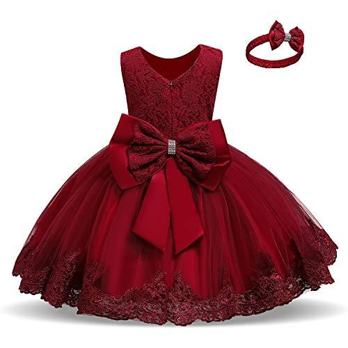 TTYAOVO Baby Mädchen Spitzenkleid Bowknot Blume Kleider Hochzeitswettbewerb Taufe Tutu Kleid Größe (110) 3-4 Jahre #Rot