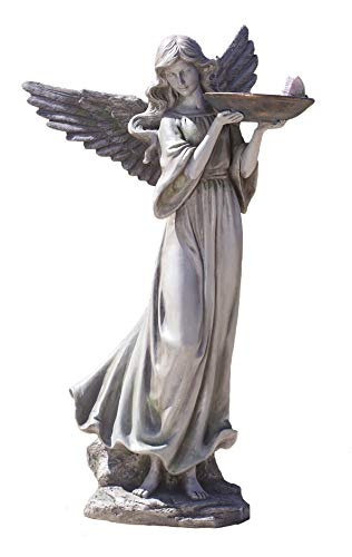 Roman - Angel with Butterfly and Bird Bath Statue, 20.25' H, Garden Collection, Resin and Stone, Decorative, Gift, Home Outdoor and Indoor Decor, Durable, Long Lasting