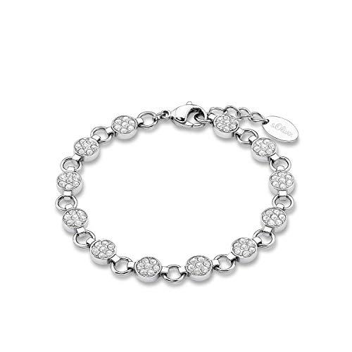 s.Oliver Armband für Damen mit Kristallen von Swarovski, Edelstahl, Länge: 18-20 cm