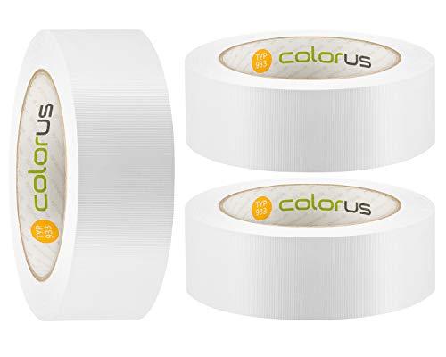 3 x Colorus PVC Abdeckband PLUS 38 mm x 33m weiß gerillt | Schutzband selbstklebend für Putzarbeiten | Leicht abreißbar, formstabil | Putz-Klebeband für glatte und leicht raue Oberflächen