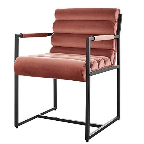 Damiware Tony Stuhl | Design Wohnzimmerstuhl Esszimmerstuhle Bürostuhl mit Stoffbezug | (Samt Rosa)