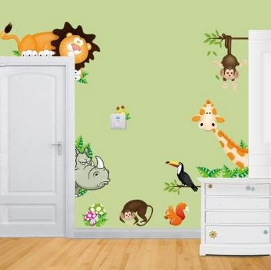 Rainbow Fox Comic-Tiere Jungle Waldtier Affe Niedlichen Löwen Affen Giraffen Nashorn Wandsticker, Kinderzimmer Babyzimmer Entfernbare Wandtattoos Wandbilder (CD001)