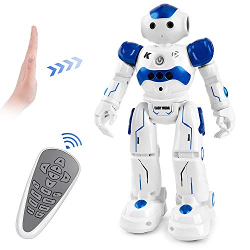 Cradream RC Robots for Kids, Remote Control Robot Intelligent Programmable Gesuture Sensing Robot Toys for 3-12 Year Old Boys Girls Birthday (Blue)