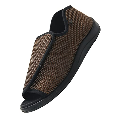Hombre Sandalias Diabéticas Mujer Zapatillas,Zapatilla Velcro Extra Ancha Abierta y Talón Cerrado para Mujer Hombres,Navy blue_39 ✅