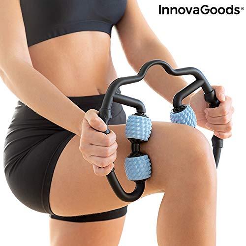InnovaGoods Selbstmassagegerät mit Rollen, für Erwachsene, Unisex, Schwarz, Blau, 25 x 27 x 5 cm