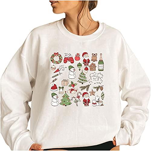Wave166 Jersey de mujer monocolor, elegante, de Navidad, lindo estampado gráfico, camiseta de manga larga para carnaval o fiestas, 3 blancos., XXL