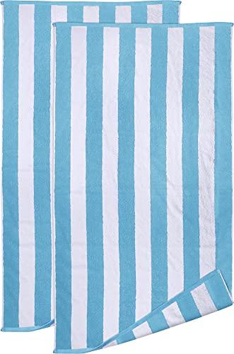 Utopia Towels - Asciugamani da Spiaggia in Cotone 100% Ring Spun Bianco e Verde Mare, 600 gsm Altamente assorbenti, Super Morbidi e ad Asciugatura Rapida (Confezione da 2)
