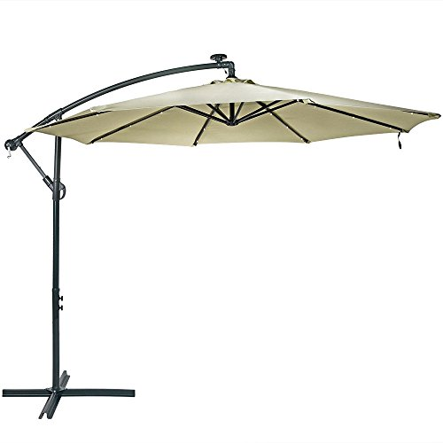 Sunnydaze 10-Foot Offset Cantilever Solar Patio Umbrella with Outdoor LED Lights, Crank, and Cross Base, Beige