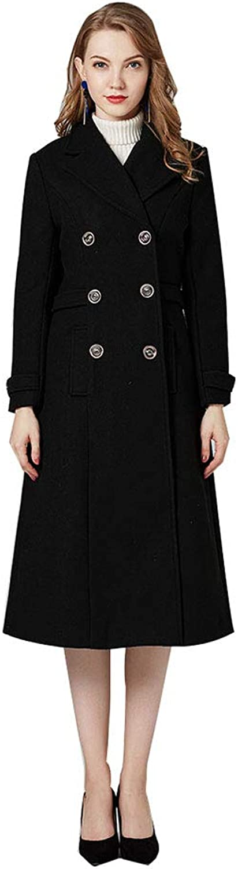 Sijux Women Trench Coat SingleBreasted Long Woolen Coat Same with Celebrity Casual Outwear