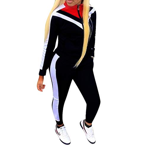 Two Piece Outfits for Women Jogging Suits Sets Long Sleeve Sweatsuits and Skinny Jogger Pants Color Block Workout Tracksuit Black