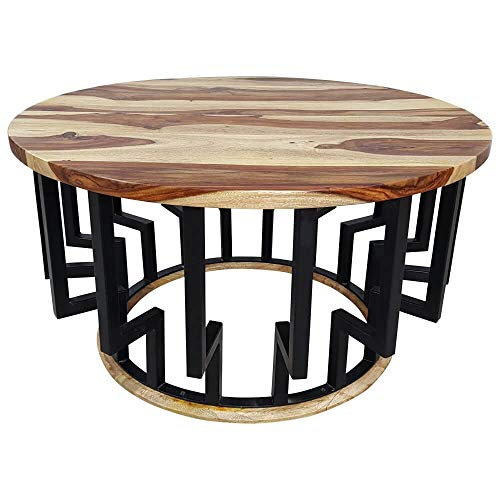 Table basse ronde en bois de sheesham massif - Diamètre : 85 cm