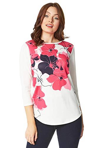 Roman Originals blusa para mujer, con estampado floral, cuello redondo, manga 3/4, cuello de bote, para uso diario, casual, para trabajo Rosa Marfil Rosa Fucsia 48