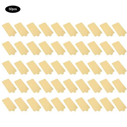 Tableros de pastel de mousse, 50 piezas Tableros de pastel de cartón dorado Cuadrado Cupcake Postre Muestra Bandeja Boda Pastel de cumpleaños Pastelería Kit de herramientas decorativas(82023)