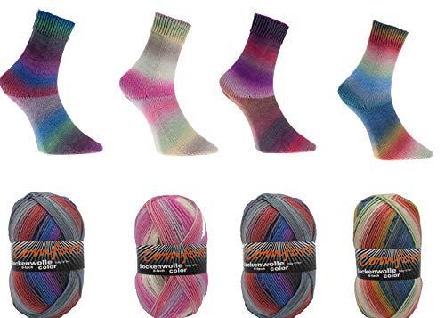 Sockenwolle Strumpfwolle Comfort Color 6-fädig Color 150gr 375m/LL 600gr für besonders warme FüßeSet Bunt 1966.9-12