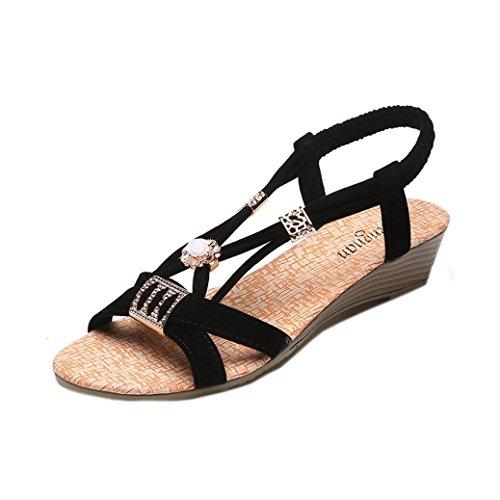 Damen Sandalen Ronamick Frauen Wedges Schuhe Böhmen Perlen Freizeit Lady Sandalen Peep-Toe Outdoor Schuhe (38, Schwarz)