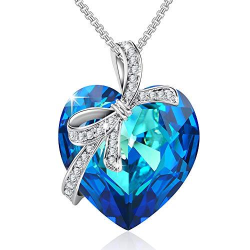 DEQIAODE Ewige Liebe Ocean Blue Heart Halskette mit Saphir Swarovski Kristall-Anhänger für Frauen und Mädchen, Geschenkverpackung, 18,1 + 2,3-Zoll-Extender