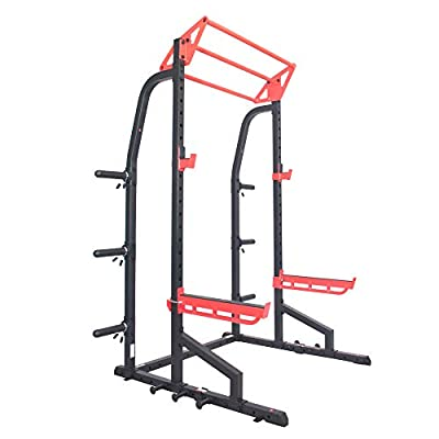 Sunny Health & Fitness Power Zone Half Rack Heavy Duty Performance Power Cage with 1000 LB Weight Capacity – SF-XF9933