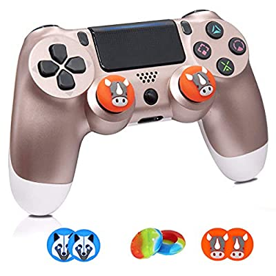 Wireless Controllers for PS4, Wireless Remote Control for Sony Playstation 4, YU33 PS4 Joystick Gamepad for Ps4 Controller with Dualshock, Charging Cable and 3-Packs Thumb Grips(2020,Rose Gold)