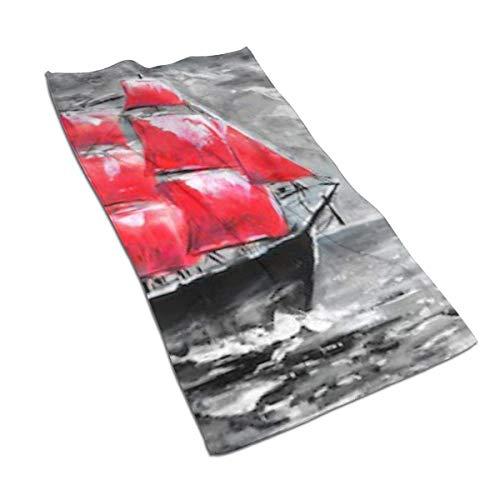 Hdadwy Serviette à Main Douce Voiles écarlates Peinture à l'huile Navire Bain Serviettes à Main Gant de Toilette pour Serviettes à Main Maison/Plage/Yoga 27,5 X 15,7 Pouces