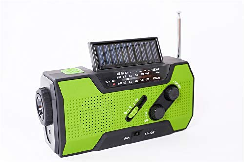 Emergency Weather Solar Crank AM/FM NOAA Radio, with 2000 mA Rechargeable Power Reading Lamp Led Flashlight SOS Alarm USB Charging Multi-Function Design for All Kinds of Emergency Situations.
