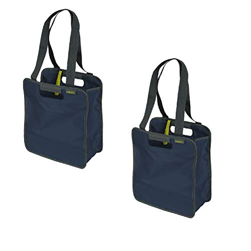 meori Marineblau/Büchertasche, stilvoll, wiederverwendbar, langlebig, Reißverschluss, für Sport, Strand, klein, 2 Stück