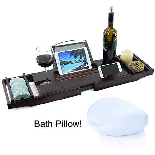 Bathtub Tray - Extendable Bath Tub Caddy Bathroom Trays Retractable Bath Bridge Non-slip Tray Multifunction Tablet Cellphone Holder Wine Holder with White Bath Pillow-brown