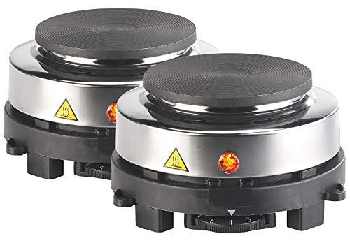 Rosenstein & Söhne Kochfeld: 2er-Set elektrische Mini-Einzel-Kochplatten, stufenlos, je 500 Watt (Reise-Kochplatte)