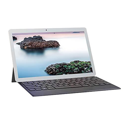 Huante - Tablet PC de 10 pulgadas HD con pantalla de tabletas de llamada teléfónica, Android, doble tarjeta SIM con teclado desmontable, enchufe europeo, color plateado