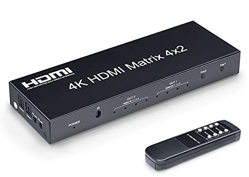 ELEVIEW 4Kx2K HDMI マトリックス セレクター 4入力 2出力 + 音声 分離(SPDIF 光デジタル・3.5mmステレオミ...