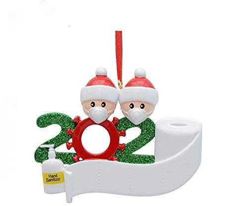 2020 Personalized Quarantine Survivor Family Member with Face Mask Hand Sanitizer Toilet Paper Christmas Tree Holiday Party Hanging Ornament Decoration Home Decor Xmas Gifts