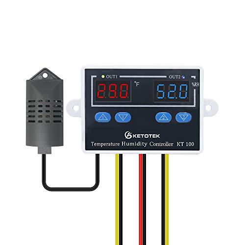KETOTEK Digitaler Temperatur Feuchtigkeit Regler 230V mit fühler, Feuchtigkeitsregler Temperaturregler Luftfeuchtigkeitsregler 220V, Hygrostat Thermostat Schalter