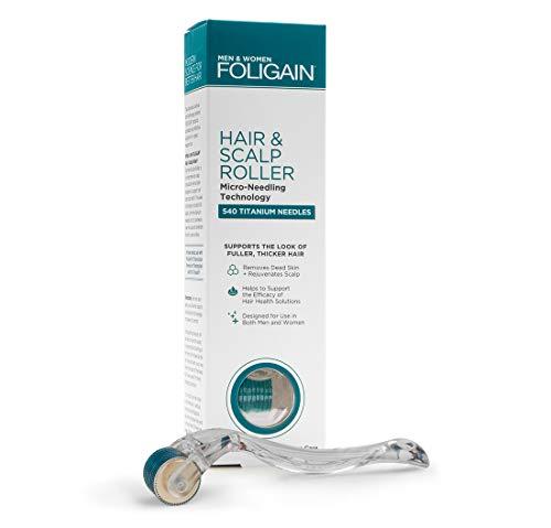FOLIGAIN - Rodillo para cabello y cuero cabelludo - Rodillo de microagujas para la pérdida del cabello - 540 microagujas de titanio a 0.25 mm - Derma Roller sin dolor para hombres y mujeres