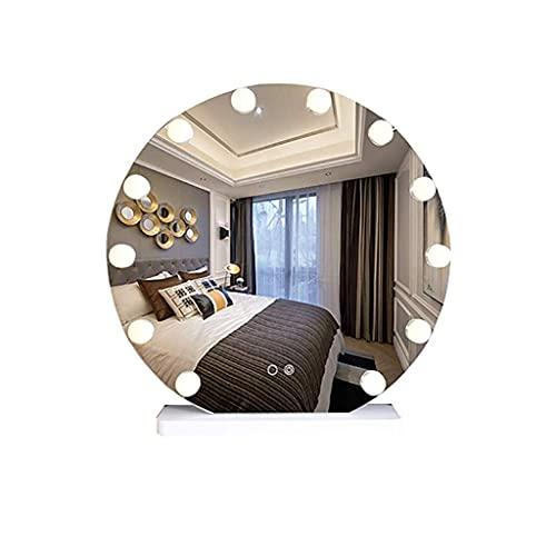 Pkfinrd Espejo de Maquillaje Espejo cosmético Redondo, baño LED Espejo de Pared de Pared de Pared Espejo de baño Espejo de Pared
