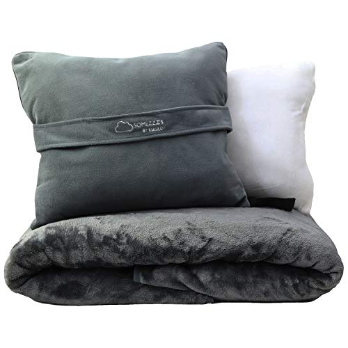 Kululu Travel Blanket and Pillow Set w/Pouch -...