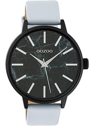 Oozoo Damenuhr mit Lederband und Marmor Design Zifferblatt 42 MM Black/Schwarz/Hellgrau C10467