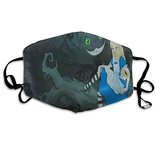 Alice seduto sul ramo con gatto Chescire nel buio a strisce fumetto amore tema nuovo Sun-Proof moda viso sciarpa bandana copricapo