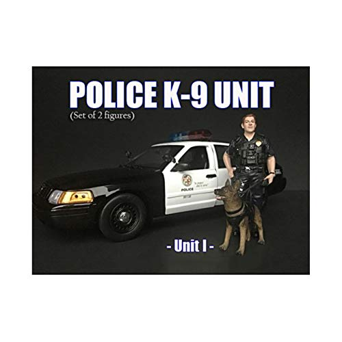 American Diorama Police Officer Figure with K9 Dog Unit I for 1/24 Scale Models