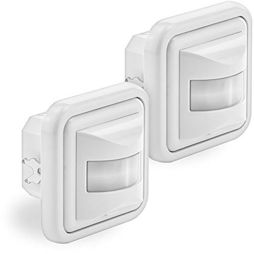 deleyCON 2X Infrarot Bewegungsmelder Unterputz Wandmontage Innenbereich Lichtsteuerung 160° Arbeitsfeld 9m Reichweite eingebauter Lichtsensor Weiß