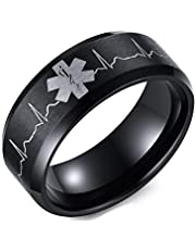 Unisex black Ring with heartbeat logo size 13
