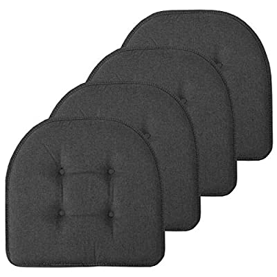 """Sweet Home Collection Chair Cushion Memory Foam Pads Tufted Slip Non Skid Rubber Back U-Shaped 17"""" x 16"""" Seat Cover, 4 Pack, Charcoal Gray"""