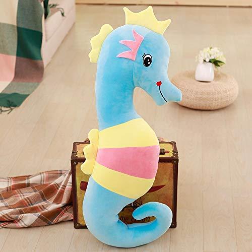 Animal de Peluche súper Suave, Almohada de Felpa para Mascotas, Juguete de Peluche de Caballito de mar de Color, Almohadilla de algodón, Regalo de cumpleaños para niños, Azul