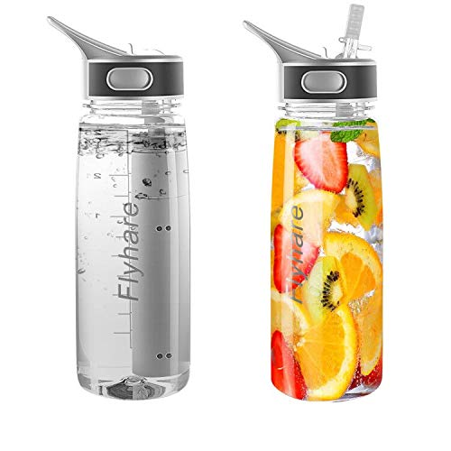 Telguua Water Bottle with Built-in Filter, BPA Free Filtered Water Bottle and Daily Use High Capacity Purifier Straw Filter System Portable Emergency Water for Hiking, Backpacking Camping-27oz