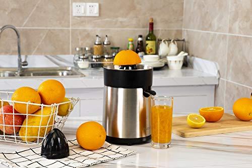 Hozodo Elektrische Zitruspresse 100 Watt, Zitronenpresse Orangenpresse Saftpresse Elektrisch, großer und kleiner Presskegelaufsatz, BPA-frei, Edelstahl/Schwarz