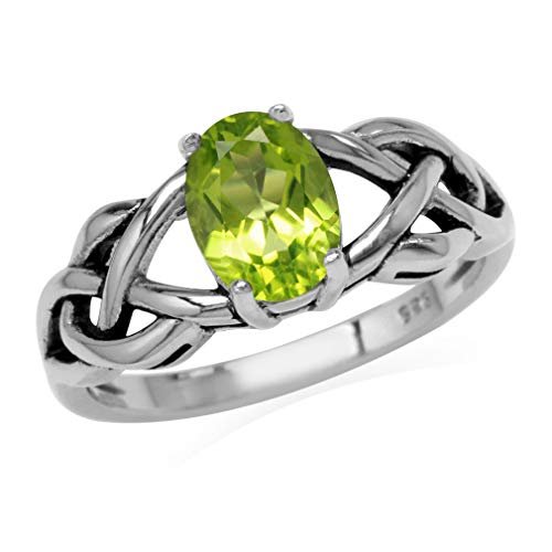 Silvershake 1.32ct. 8X6mm Natural Oval Shape Peridot 925 Sterling Silver Celtic Knot Solitaire Ring Size 7