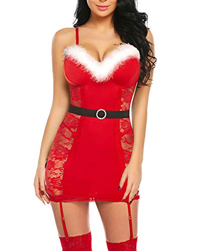 wearella Women Santa Clause Lingerie Red Lace Babydoll Chemise with Garters for Christmas