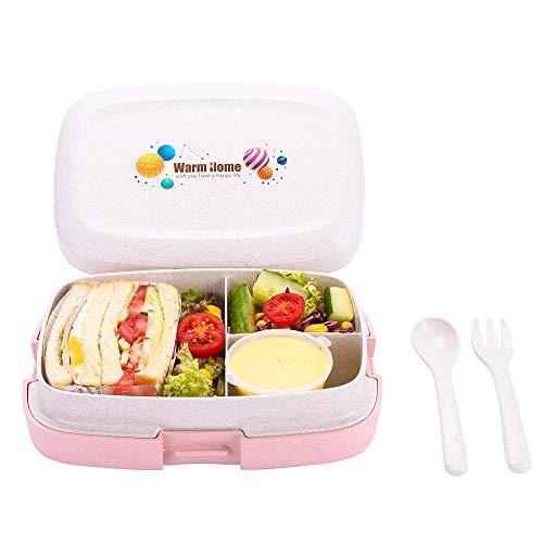 Merysen 1000 ml Brotdose aus Weizenstroh Faser, Auslaufsichere Bento Box mit 3 Fächern und Besteck, BPA-freie Mikrowellengeeignete Lunch Box für Kinder Erwachsene, Rosa